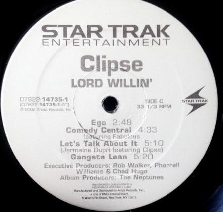 Clipse – Lord Willin ( 1 VINIL DISCO LADO C e D )