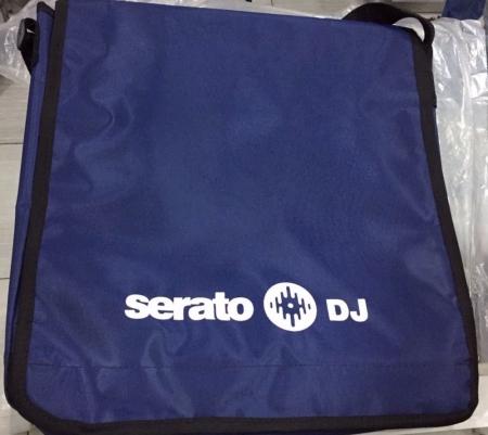 Bag Serato Dj Para 15 Discos (Azul Marinho Estampa Branca)