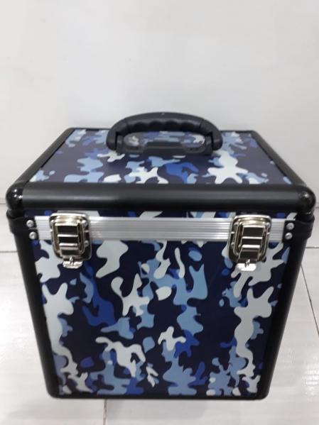 Case Para Vinyl Preto Azul e Cinza Capacidade 75 Discos (Camuflado)