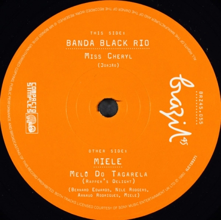 Banda Black Rio / Miele ?– Miss Cheryl / Melô Do Tagarela / Rapper's Delight (Instrumental)