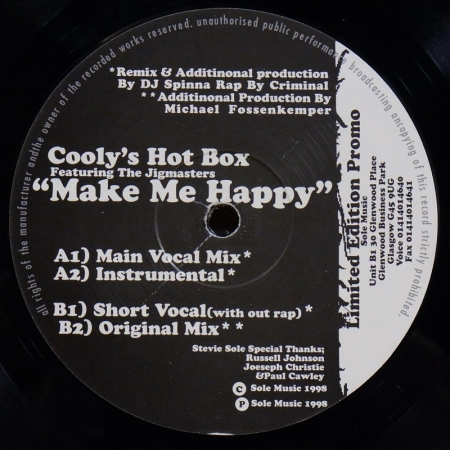 The Coolys Hot Box Feat Jigmastas ‎– Make Me Happy