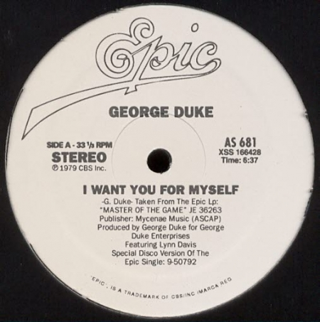 George Duke ‎– I Want You For Myself / Reach For It